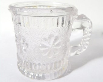SALE! Antique Mini Glass Tankard, Victorian Davidsons Child's Miniature Pressed Flint Glass Mug + Lion Stamp 1890s