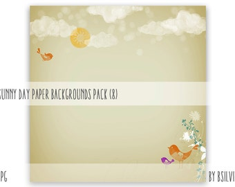 Sunny Day Backgrounds, Sunny Day Digital Scrapbooking Paper Pack, Sunny Day Watercolor Style Backgrounds, Summer Scrapbook Papers