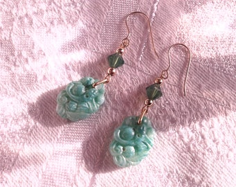 "Vintage ""Peking Jade"" Glass Bead Earrings, Koi, Carp, Fish. OOAK."