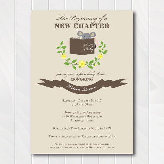 Gender Neutral Baby Shower Invitation - Chocolate Brown - Stock the Library - Story Book - Library Shower - Library Invitation