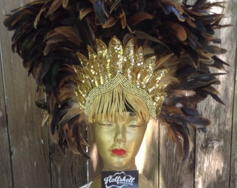 Gold crown feathered Headdress