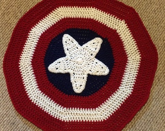 Captain America Inspired Blanket / Super Hero / Crochet Captain America Blanket