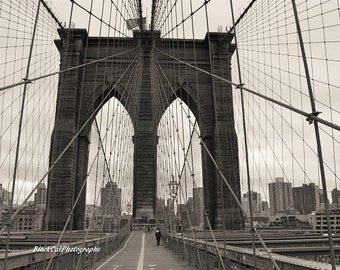 New York Large Wall Art NYC Photo Print Brooklyn Bridge in Sepia Contemporary Wall Art Modern Home Urban Monochrome Home Decor Architecture