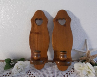 Vintage Wood Candle Holder Wooden Heart Wall Hanging Sconce Set Mid Century Rustic Cabin Country Farmhouse Shabby Chic Cottage Home Decor