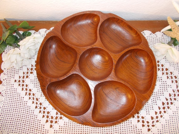 Vintage Wood Serving Tray Divided Condiment Bowl Mid Century Hawaii Tropical Island Home Decor Luau Birthday Party Decoration Gift Him Her