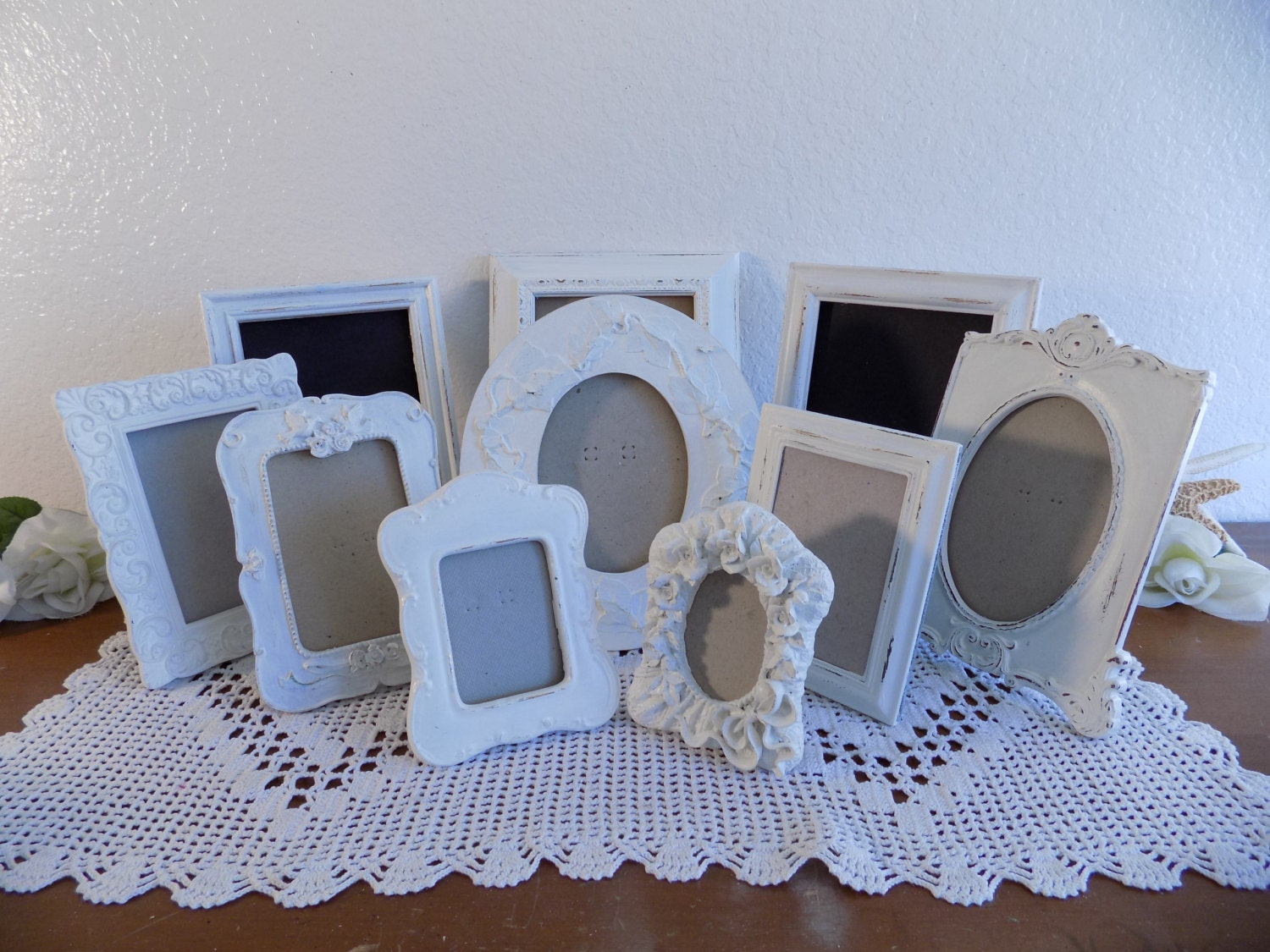 White Wedding Picture Frame Table Number Decoration Shabby
