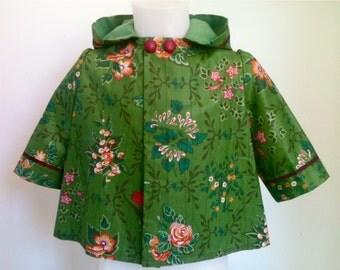 manteau a capuche soie du Japon, taille 1 an, pièce unique