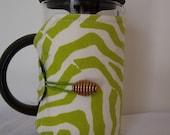 French Press Cosie, Bodum Coffee Press Cosy, Press Pot Sleeve, Lime Green Zebra Stripe Cosy cover