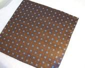 Dark Brown with Sky Blue flowers, Woven Silk Pocket Square, Brown silk accessory, Pocket scarf, Hanky