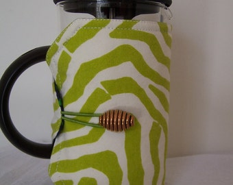 French Press Cosie, Bodum Coffee Press Cosy, Press Pot Sleeve, Lime Green Zebra Stripe Cosy cover