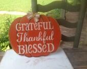 Grateful, Thankful, Blessed Pumpkin Hanger, Fall Home Decor Signs, Wooden Pumpkin Signs