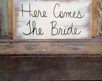 Rustic Ivory and Black Here Comes The Bride Sign, Wooden Ring Bearer and Flower Girl Signage, Bride Wedding Sign