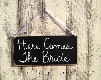 Here Comes The Bride Wedding Sign, Wooden Ring Bearer and Flower Girl Signage, Black and White Here Comes The Bride Hanger