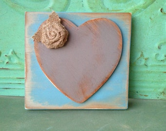 Sky Blue and Gray Heart Hanger, Gallery Wall Accent Sign, Home Decor Signs, Distressed Heart