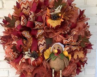 Fall Wreath, Autum Wreath,  Thanksgiving Ruffle Jute Mesh Turkey Wreath, Thanksgiving Wreath