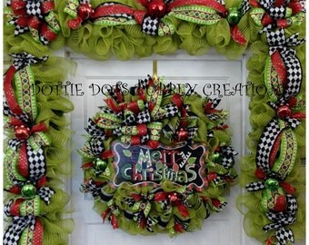 Lime Green Jute Merry Christmas Wreath/Garland Combo