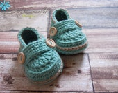 Crochet Baby Booties - 100% Cotton Green Jade with mocca trim Made-To-Order Newborn - 6 months