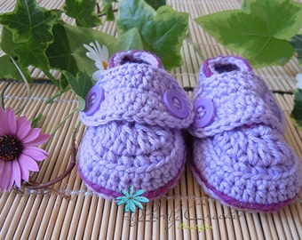 Crochet Baby Booties - Loafers Double Straps, 100% Cotton, violet purple with dark orchid trim, 0-6 months