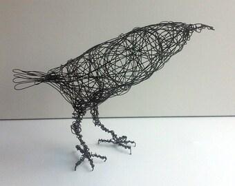 Crow Sculpture - Handmade wire bird art - BAKER