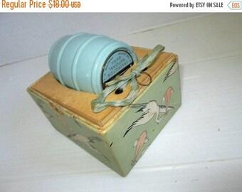 ON SALE Antique Baby Bank Stork Birth Congratulations Vintage Nursery Decor