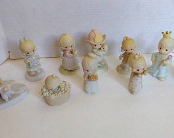Lot Precious Moments Vintage 1980s Cute Collection Of Bisque Figures