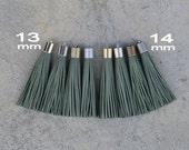 Khaki Leather TASSEL in 13 or 14mm Cap -4 colors Plated Cap- Pick cap size, cap color & trimmed size