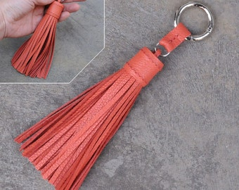 LARGE Type -Flamingo Unique and Chic Hand Stitched Cowhide Leather TASSEL Key Chain or Bag Charm-(Pls choose Key Ring color)