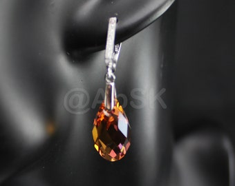 Sterling Silver SWAROVSKI Teardrop Briolette Earrings leverback - Crystal Copper (BE2)