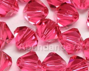 Swarovski Crystal Beads BICONE 5328 5301 crystal beads INDIAN PINK - Available in 3mm, 4mm, 5mm and 6mm