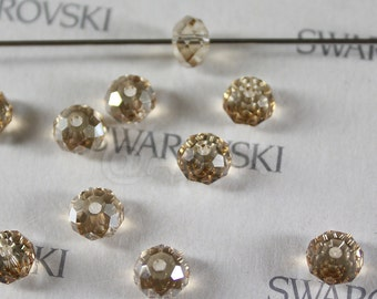6 pieces Swarovski Elements 5040 6mm RONDELLE Spacer Beads - Crystal Golden Shadow