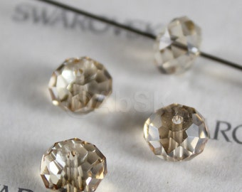 6 pcs Genuine Swarovski Elements 5040 8mm RONDELLE Spacer Beads - Crystal Golden Shadow