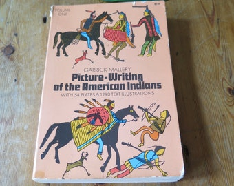 Vintage 1972, Softback Volume 1 Texbook Picture Writing of the American Indians by Garrick Mallery