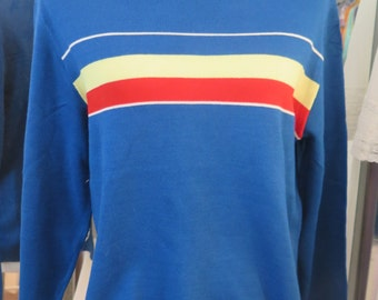 Vintage 1970's High Collar Skater Surfer Striped Long Sleeve Sweater