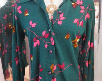 Vintage 1970's Extra Soft Wide Collar Neon Floral Button Down Hippie Long Sleeve Blouse/Shirt