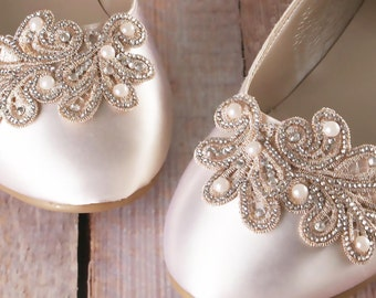 Custom Wedding Shoes, Ivory Wedding Shoes, Wedding Flats, Ballet Wedding Shoes, Closed Toe Shoes, Lace Wedding Shoes, Bow Wedding Shoes
