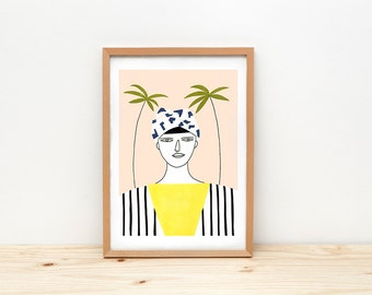 Woman with palms art print, illustration by depeapa, plants and cactus, woman with turban portrait, pastel wall art, A4, modern wall decor