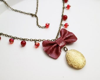 Leather red bow necklace. Spring accessories. Golden locket. Genuine leather bow pendant. Red swarovski ruby beads. Bohochic
