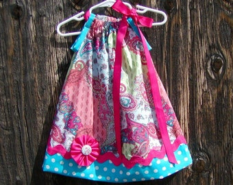Girls Dress  Pillowcase style....Bright Paisley N Dots...sizes 0-3, 0-6, 6-12, 12-18, 18-24 months, 2T, 3T