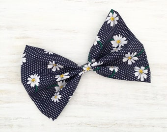 Navy blue with white daisy flower print hair bow on clip
