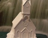 Rare,Detailed, Large Church,ChurchTower,Race Track,Train Track,Christmas Decoration,miniature building,Ready to paint,Ceramic bisque,u-paint