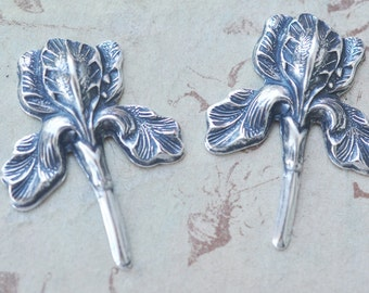 TWO Iris Brass Stampings, Sterling Silver Finish