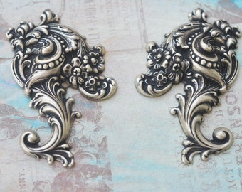 Two large brass flourishes for scrapbooking, Brass ox
