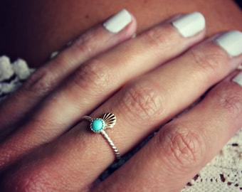 Turquoise ring, shell ring, mermaid ring, Sterling silver ring, stacking ring, midi ring, stackable ring