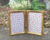 Double Gold Metal Picture Frame in 5 x 7 Size,  Vintage Gold Frames for Weddings, Home Decor,  Gold Tone Picture Frame Set