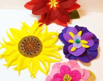 Big Felt Flowers -PDF Instant Download- Hand Sewing Pattern