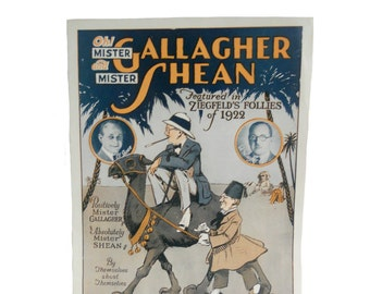"""Vintage 1920s Paper Ephemera Sheet Music """"Oh! Mister Gallagher and Mister Shean"""" Featured in Ziegfeld's Follies of 1922"""