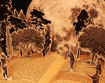 Shoot the Moon greeting card from an altered book sculpture. Steampunk Father's day