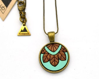 Abstract Flower - Small Wood Necklace