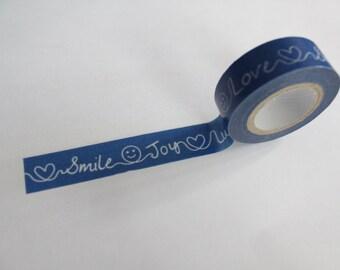 Tape-Washi Tape-Masking Tape-Single Roll- Smile, Love, Joy, Lucky, Sweet, Happy