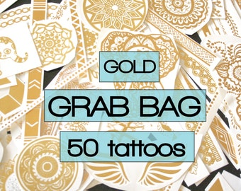 All gold grab bag of metallic tattoos, 50 pieces, designer - temporary, body art, flash, tattoos, tattoo, beach, party, festival, favors